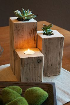 Up-Cycled Succulent Centerpiece DIY @Nina Gonzalez Tsuda-Hucke Dad should make these :)