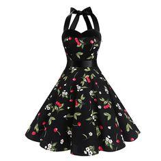 Dresstells Neckholder Rockabilly Vintage Retro Kleid Petticoat Faltenrock Black Small Cherry M Pretty Dresses, Sexy Dresses, Vintage Dresses, Evening Dresses, Fashion Dresses, Prom Dresses, Robe Swing, Swing Dress, Mode Vintage