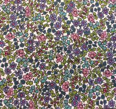 "Emilia's Flowers D Liberty Fabric scrap tana lawn white lilac purple pink blue green 10"" x 10"" square (25,4 cm x 25,4 cm) The Weavers Mill"
