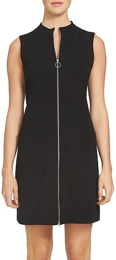 1.STATE Mock Neck Zip Front Shift Dress