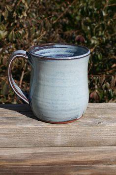 Pottery Mug with Handle Light Blue Glaze NC by Beaverspottery, $16.00