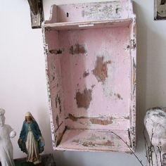 Distressed pink cubby shelf wall hanging by AnitaSperoDesign