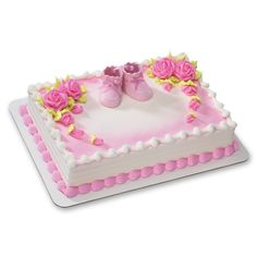 Pink Baby Booties DecoSet Cake Decoration *** Final call for this special discount : Baking desserts tools Girl Shower Cake, Baby Shower Sheet Cakes, Tortas Baby Shower Niña, Torta Angel, Bolo Floral, Cake Decorating Kits, Decoration Christmas, Casino Cakes, Girl Cakes