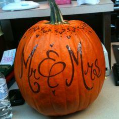 Wedding Pumpkin.....writing instead of carving good idea October Wedding, Our Wedding Day, Diy Wedding, Wedding Events, Wedding Reception, Dream Wedding, Wedding Hair, Wedding Stuff, Weddings
