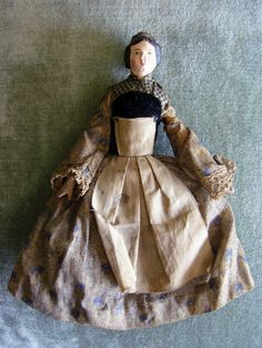 "Wooden Paper Mache Doll 6"" 1840s All Original | eBay Love the pinner apron!"