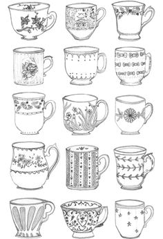 Teacup doodles @Emily Schoenfeld Yang Dean - Reminded me of you!