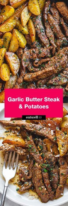 Garlic Butter Steak and Potatoes Skillet - This easy one-pan recipe is SO simple, and SO flavorful. The best steak and potatoes you'll ever have! (healthy dinner for one) Beef Dishes, Food Dishes, Dinner Dishes, Meat Recipes, Cooking Recipes, Easy Beef Recipes, Beef Steak Recipes, Steak Dinner Recipes, Recipies