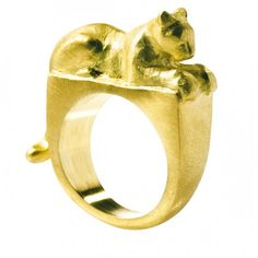 Leopard Signature ring in 18-karat gold by Daphna Simon