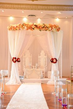 Modern white mandap creates a fresh feel to a traditional Indian wedding…