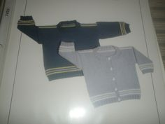 """*38 Grace's Cardigan and Pullover - $1.00 plus postage (1 available) Sizes: 3 months to 3 years old. Finished chest measurements; 17"""" - 26"""". Needles: #2 single pointed needles, #2 (16"""") circulars, #3 (24"""") circulars, stitch holders and five 1/2"""" buttons. Gauge: 7 sts = 1 inch on #3 needles in stockinette stitch."""