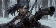 Gun by Guweiz Fantasy Art Village Social Network for Fantasy, Pinup, and Erotic Art Lovers! Fantasy Girl, Chica Fantasy, Ronin Samurai, Samurai Art, Fantasy Samurai, Character Portraits, Character Art, Character Design, Fantasy Characters