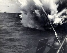 A Kamikaze just misses USS Hornet. This picture was taken on the USS Hornet off Okinawa during April Battle Of Peleliu, Battle Of Iwo Jima, Uss Hornet Cv 12, Aircraft Carrier, Okinawa, World War, Wwii, Survival, History