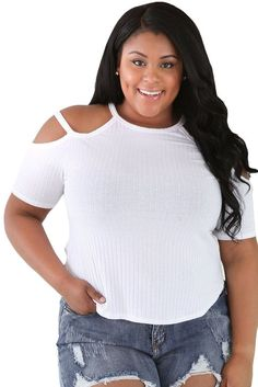 Jahnell's Closet Ribbed Stretchy Fit Full-Figured Top