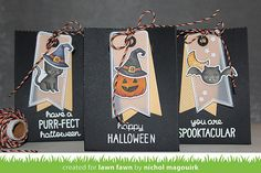Lawn Fawn - Spooktacular + coordinating dies, Thank You Tags, Tag You're It, Goodie Bag Lawn Cuts die, Spooky Lawn Trimmings, Sweater Weather 6x6 paper _ goodie bags by Nichol for Lawn Fawn Design Team