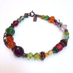 Czech Glass and Austrian Crystal Bracelet by Owenglasscollection