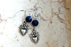 Womens Heart Shaped Dangle Earrings Blue Heart Silver