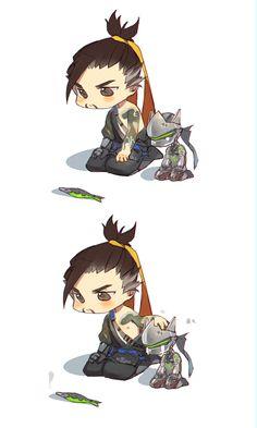 This reminds me of Fairy tail with Natsu and Happy Overwatch Hanzo, Overwatch Comic, Overwatch Memes, Overwatch Fan Art, Genji Shimada, Hanzo Shimada, Shimada Brothers, Genji And Hanzo, Look At My