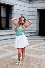 White skirt, keds.