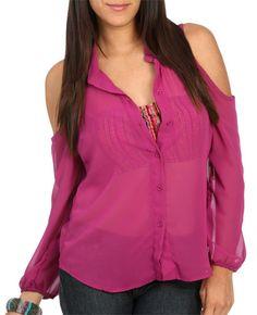 Cold Shoulder Woven Shirt - Shirts & Blouses