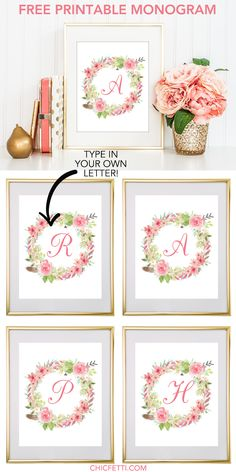 Free Printable Water Color Floral Wreath Monogram Maker from @chicfetti - click through to make your own monogram!
