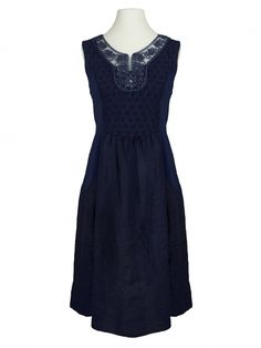 Damen Leinenkleid Kordelstickerei, blau von Diana bei www.meinkleidchen.de