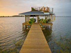 Lake Shore and Dock in Evening DIY blog cabin 2014