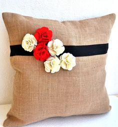 Burlap pillow cover with red white flower - Decorative cushion cover-Valentine gift - Easter decor- Throw pillow 16X16