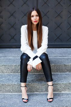 Monochrome look today with strappy black heels and a red lip