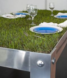 The Dutch do enjoy their greenery, even in crowded cities, as this cute grassy dinner table demonstrates in an oddly literal way.