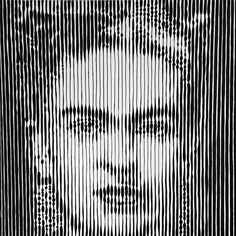 Striped portrait of Frida Kahlo  Uniposca on canvas  100x100
