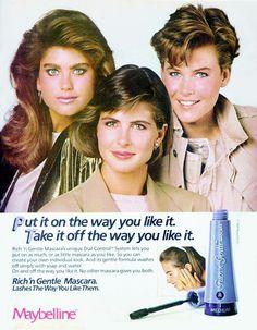 KATHY IRELAND, CHERI LA ROCQUE, UNKNOWN Maybelline Ad 1984