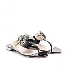 PATENT LEATHER SANDALS WITH EMBELLISHED BOW  seen @ www.mytheresa.com