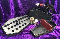 BUNDLE DEAL Coffin Vanity series!! Original Coffin Lipstick Organizer, Coffin Brush Brush Holder & Coffin Palette Organizer SAVINGS by LifeAfterDeathDesign on Etsy https://www.etsy.com/listing/468781609/bundle-deal-coffin-vanity-series