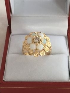 Excited to share the latest addition to my shop: Gold Diamond Central 6 Fiery Opals Floral Design Scalloped Accent Leaves 585 Yellow Gold Hallmark Esemco Stunning Diamond Jewelry, Gold Jewelry, Fine Jewelry, Sterling Silver Cuff Bracelet, Gold Necklace, Gold Jewellery Design, Necklace Designs, Beautiful Rings, Antique Jewelry