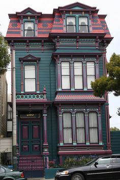 Reminds me of a pic a buddy has up of a house in the Big Easy! Victorian Architecture, Beautiful Architecture, Beautiful Buildings, Beautiful Homes, Architecture Design, Cute House, My House, Interior Exterior, Exterior Design