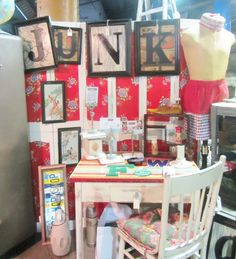 junk bonanza booth via Junk Chic Cottage love the signage.....could use for soap booth at farmers market...