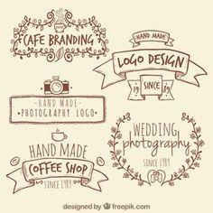 Handmade logos retro