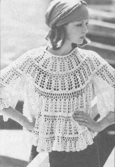Vintage 1970s Crochet Lacy Cloud Top Pattern PDF by cemetarian, $2.00