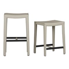 Folio Oyster Leather Backless Barstools