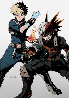 Kacchan Katsuki Bakugou hero suit switch with Shouto Todoroki Boku No Hero Academia, My Hero Academia Memes, Hero Academia Characters, My Hero Academia Manga, Anime Characters, Bakugou Manga, Hero Costumes, Hero Wallpaper, Anime Crossover
