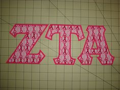 ZETA TAU ALPHA SORORITY 5 INCH GREEK IRON ON LETTERS (NO SEW) - RIBBONS/HOT PINK