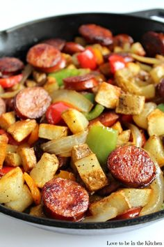 Smoked Sausage Hash- Looking for a fast and flavorful dinner option? This delicious dinner only takes 20 minutes to make! The taste is incredible! Make dinner easy with Kroger and Hillshire Farm. (Breakfast For Dinner) Smoked Sausage Hash, Smoked Sausage Recipes, Pork Recipes, Cooking Recipes, Healthy Recipes, Sausage Recipes For Dinner, Kilbasa Sausage Recipes, Polish Sausage Recipes, Smoked Sausages