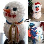 Снежен човек от пластмасови чашки – за декорация