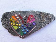 Rainbow heart stone mosaic dark grout