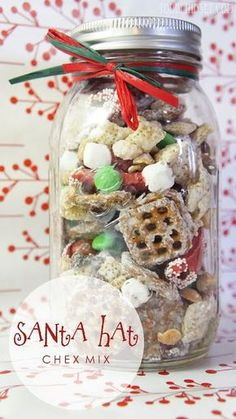Mason Jar Food Gifts That Are Easy But Thoughtful At Christmas time, we put Santa hats in our Chex Mix. Get the recipe from Todd Lindsey. - At Christmas time, we put Santa hats in our Chex Mix. Get the recipe from Todd Lindsey. Mason Jar Christmas Gifts, Christmas Snacks, Mason Jar Gifts, Homemade Christmas, Christmas Baking, Christmas Time, Christmas Movies, Gift Jars, Christmas Dishes