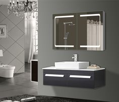 Inspirational Check out this medicine cabinet with a double sided mirror and built in lighting