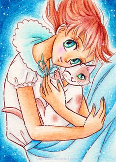 ACEO 002 - Girl and her cat by starca on DeviantArt Watercolor Pencils, My Sister, Neko, Sisters, Collections, Princess Zelda, Draw, Deviantart, Manga