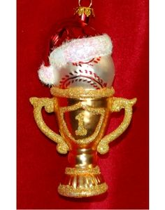 #1 Baseball Trophy Glass Personalized Christmas Ornament