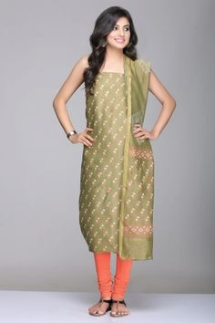 Mehendi Green Unstitched Chanderi Suit With Floral Hand Block Print & Gold Zari Border