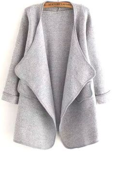 Grey long sleeve loose cardigan. SheIn has some great cardigan options!